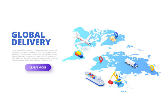 Global delivery concept with map, plane and tanker. Isometric vector illustration. Landing page template for web