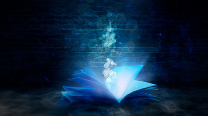 The magic book in a dark room, old brick walls, fantasy, magic dust, smoke. Abstract fantasy background with book.
