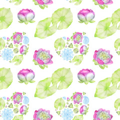 hand drawn watercolor seamless pattern consisting of flowers and leaves of Lotus