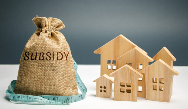 Money bag with the word Subsidy and wooden houses. Financial aid, support to the population. Cash grants, interest-free loans. Tax breaks, insurance, low-interest loans. Small minimal subsidy