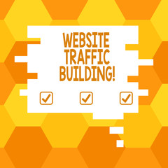 Handwriting text Website Traffic Building. Concept meaning cookies allow marketers to follow web users Blank Color Speech Bubble in Puzzle Piece Shape photo for Presentation Ads