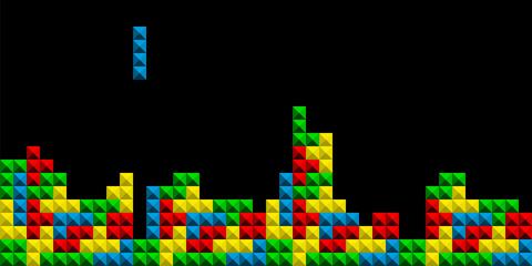 Game Tetris pixel bricks. Colorfull Game background - Vector