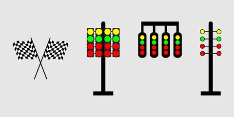 Set start line, racing starting lights system on white background