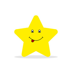 Yellow smiling star shows tongue. Happy star. Star in flat style