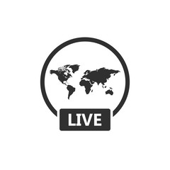 Live video transmission icon as Social media popup notification message window