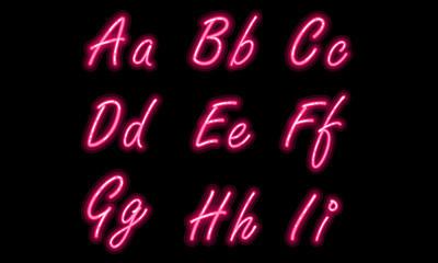 Neon alphabet font part 1