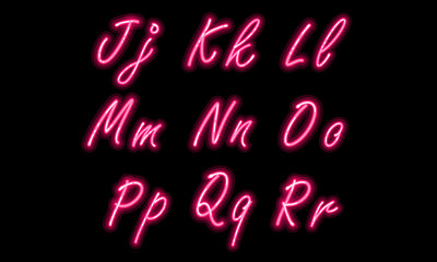 Neon alphabet font part 2
