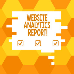 Handwriting text Website Analytics Report. Concept meaning procedures used to optimize the rank of the website Blank Color Speech Bubble in Puzzle Piece Shape photo for Presentation Ads