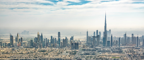 Wall Mural - Panoramic aerial view of Dubai skyline, United Arab Emirates