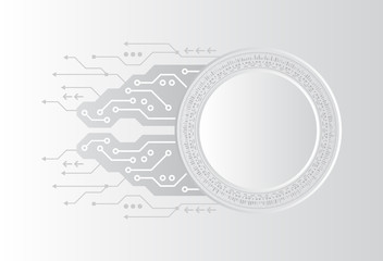 Futuristic circuit board on grey background. Abstract future digital science technology concept.