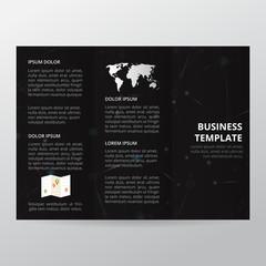Black Technology Trifold Brochure. business brochure template, trend brochure.