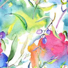Olive watercolor illustration set. Green leaf. Leaf plant botanical floral foliage. Seamless background pattern.
