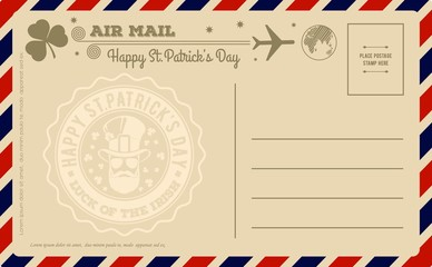 Vintage Saint Patrick's Day Postcard. Vector illustration.