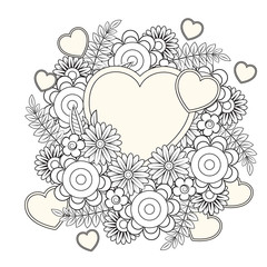 Floral heart. Valentines day adult coloring page. Vector illustration. Isolated on white background