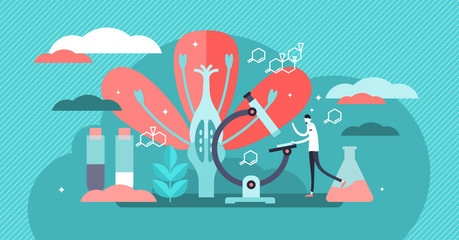 Biology vector illustration. Flat tiny nature science study person concept.