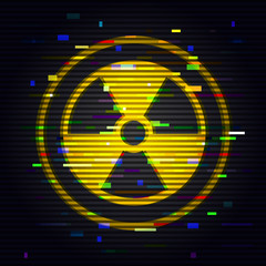 Radiation glitch sign. Danger toxic symbol in computer style effect. Vector design