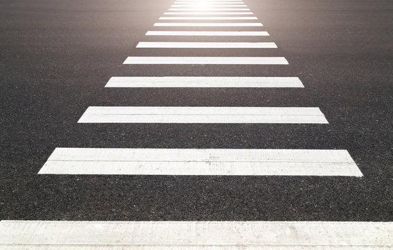 zebra  black white crossing on the road