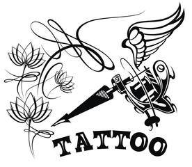 Tattoo studio logo template. Styled vector emblems
