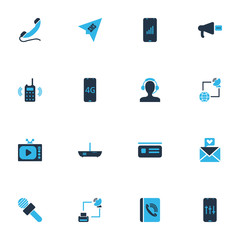 Connection icons colored set with love letter, audio adjustment, router and other megaphone  elements. Isolated vector illustration connection icons.