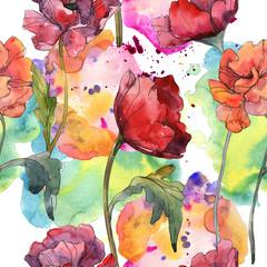 Red poppy floral botanical flower. Watercolor background illustration set. Seamless background pattern.