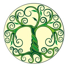 Tree logo illustration. Vector silhouette