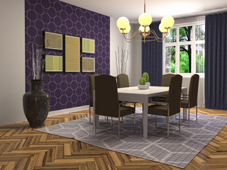 Interior dining area. 3d illustration