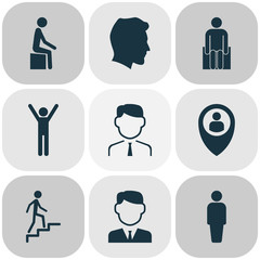 Human icons set with human, rejoicing, location and other male  elements. Isolated vector illustration human icons.