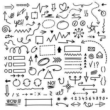 hand draw arrow vector set