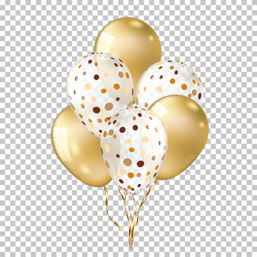White with gold balloons isolated on transparent background