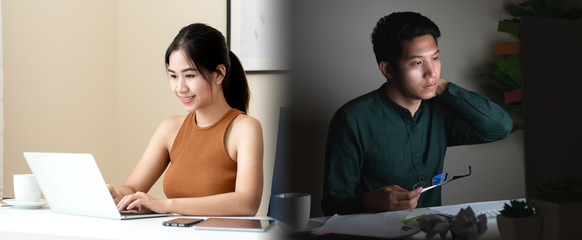 Concept of work life balance comparison in asian freelancer people or young entrepreneur. Attractive young asian man and woman work smart and work hard overtime at home. Happy and unhappy employee.