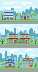 Set of three vector illustrations of city street with cartoon houses and trees