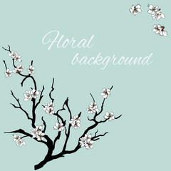Hand drawn branch with white vector flowers. For embedding paper, cards, greetings. Vector illustration