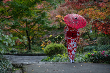 Keuken foto achterwand Rood Geisha walking in the park in Autumn