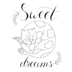 vector illustration sleeping cat on white background with calligraphy
