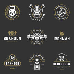 Set fitness center and sport gym logos and badges design