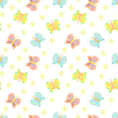 Easter seamless pattern of butterflies and flowers on a transparent background. Vector illustration for spring holiday print, wrapping paper, textile, scrapbook, clothing, children, card, baby, summer