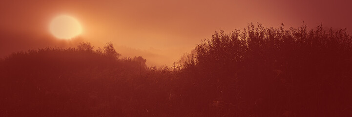 Garden Poster Brown Sunrise in the morning in a hilly area, meadow landscape countryside. Web banner for design.