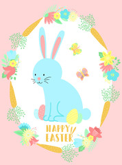 Vector image of a blue rabbit, butterflies and eggs in the flowers and carrots wreath. Hand-drawn Easter illustration of a bunny for spring happy holidays, summer, greeting card, poster, banner, child
