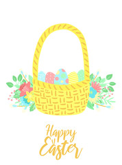 Vector image of a basket of eggs with flowers and inscription  on the white background. Hand-drawn Easter illustration for spring happy holidays, summer, greeting card, poster, banner, children