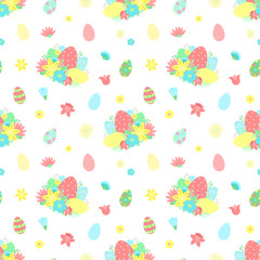 Easter seamless pattern with colorful eggs, flowers, bouquet on a transparent background. Vector hand-drawn illustration for spring holiday, print, wrapping paper, scrapbook, textile, gift, children.