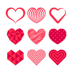 Vector set with stylized hearts. Original symbols for your design.