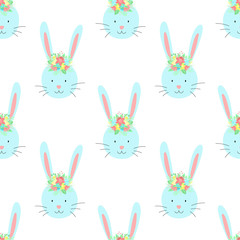Easter seamless pattern of funny rabbit with flowers on a transparent background. Vector hand-drawn illustration of bunny for spring holiday, print, wrapping paper, textile, child, scrapbook, clothing