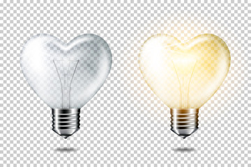 Wall Mural - Transparent realistic light bulb heart shape set, isolated.
