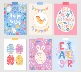 Easter greeting cards with flower, hen, egg, flowers, bunny, berry