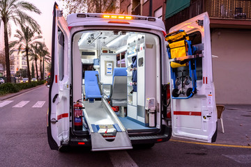 Valencia, Spain - January 14, 2019: Interior of an ambulance with all its new material while paramedic are out in an emergency.