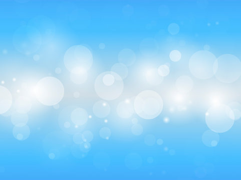 Blurred bokeh lights on blue gradient abstract background vector illustration