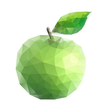 Green apple polygonal low poly vector illustration on white background.
