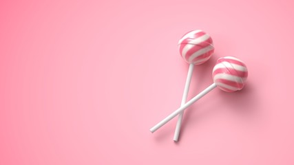 Two sweet striped pink and white lollipops on stick on bright pink background
