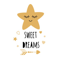 Vector gold star with sweet dream text. Inspirational phrase for baby room poster Cute card banner logo