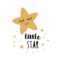 Little star typography vector for print design Art wall kids room vector